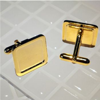 Cufflink Pair Square 16mm gold and clear dome